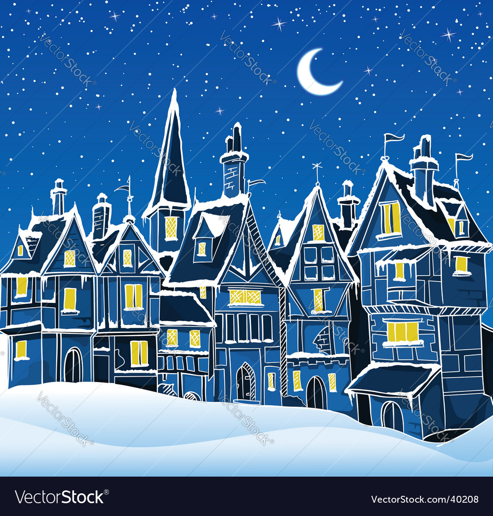 Christmas snow scene vector image