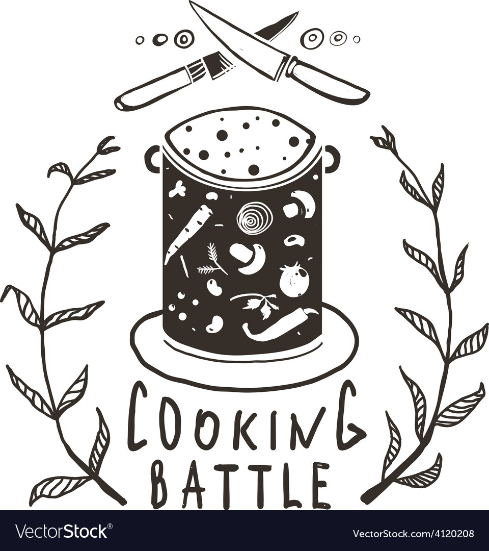 Cooking Battle Sign and Label Monochrome Design