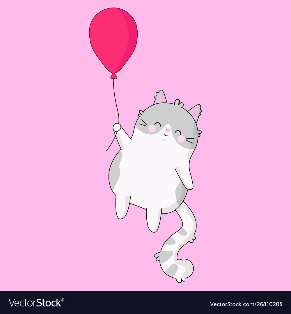 Cute Sweet A Cat With Pink Balloon Royalty Free Vector Image