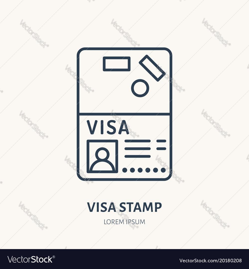 Documents identity flat line icon visa
