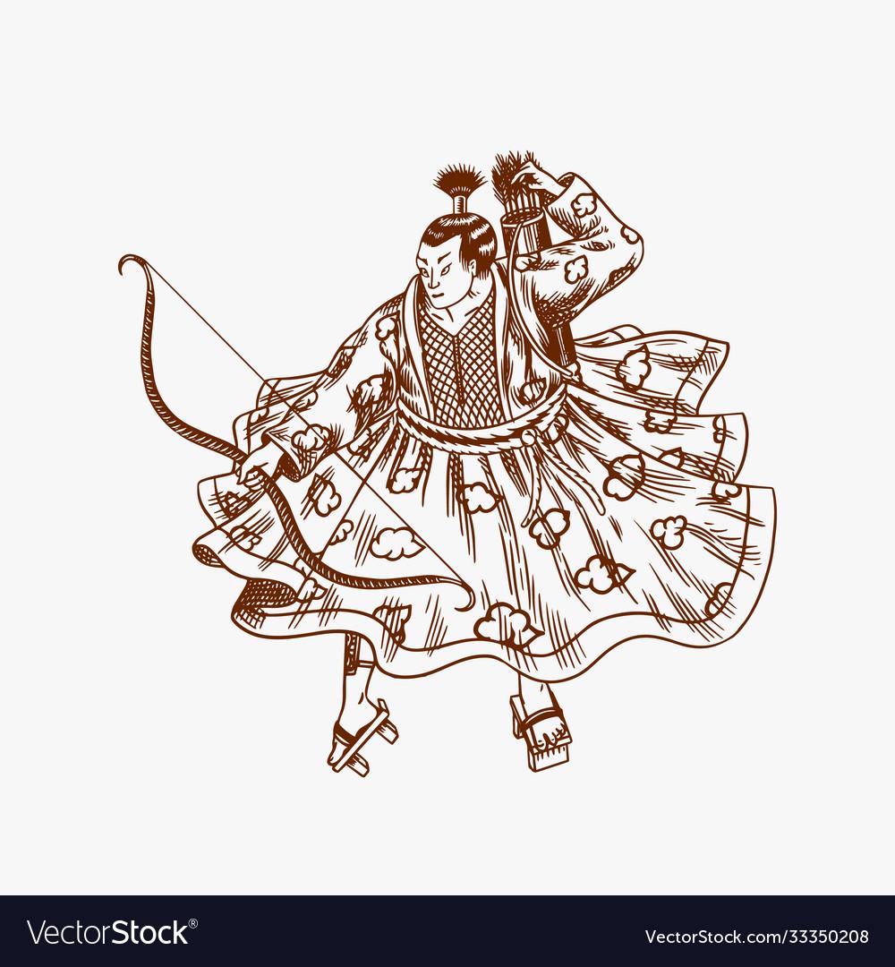 Japanese samurai warriors with weapons sketch men