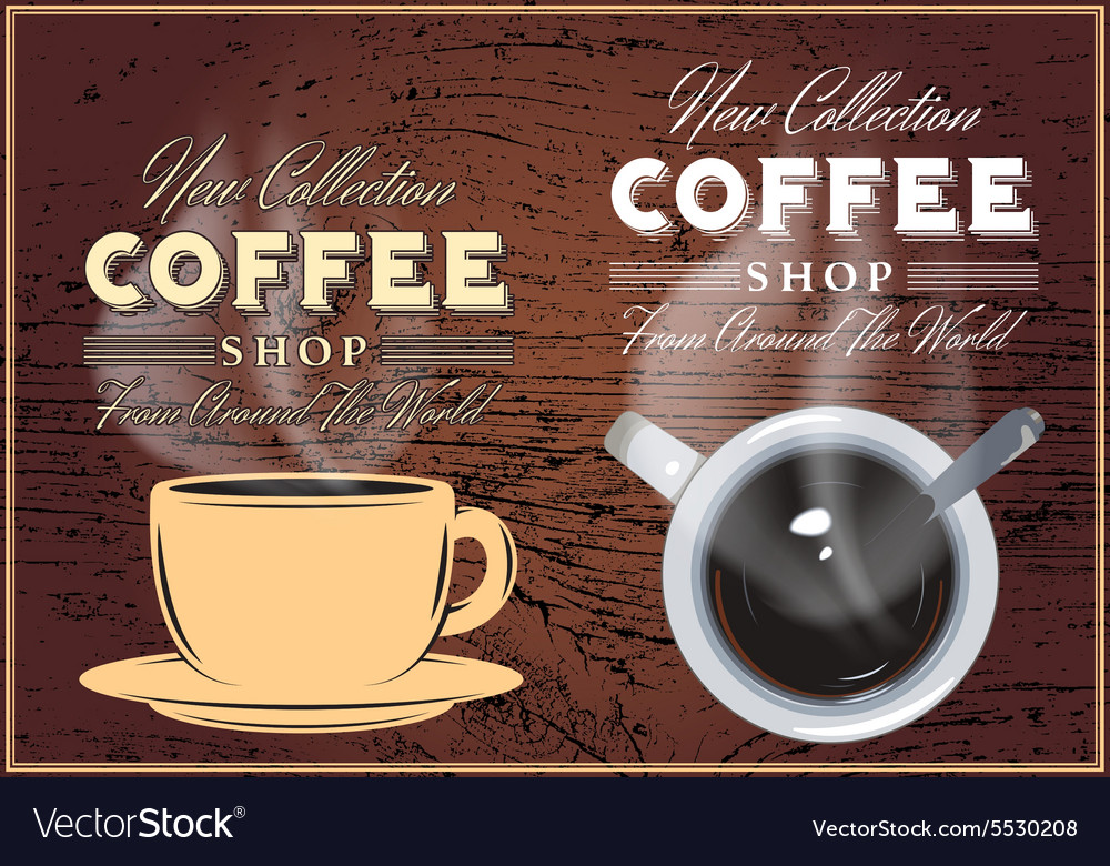 Patterns of coffee with inscriptions on background