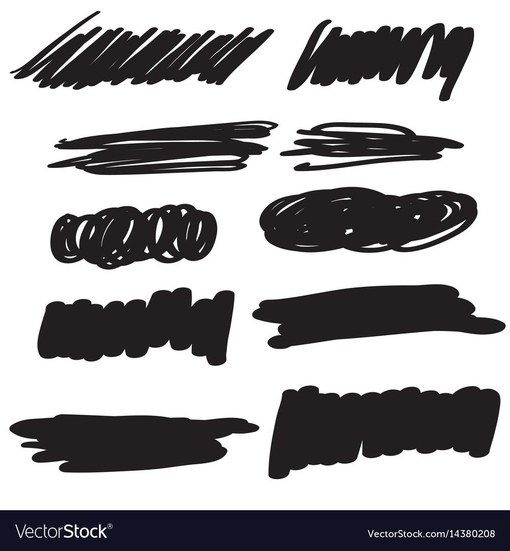 Set of black flourish calligraphy vintage doodle