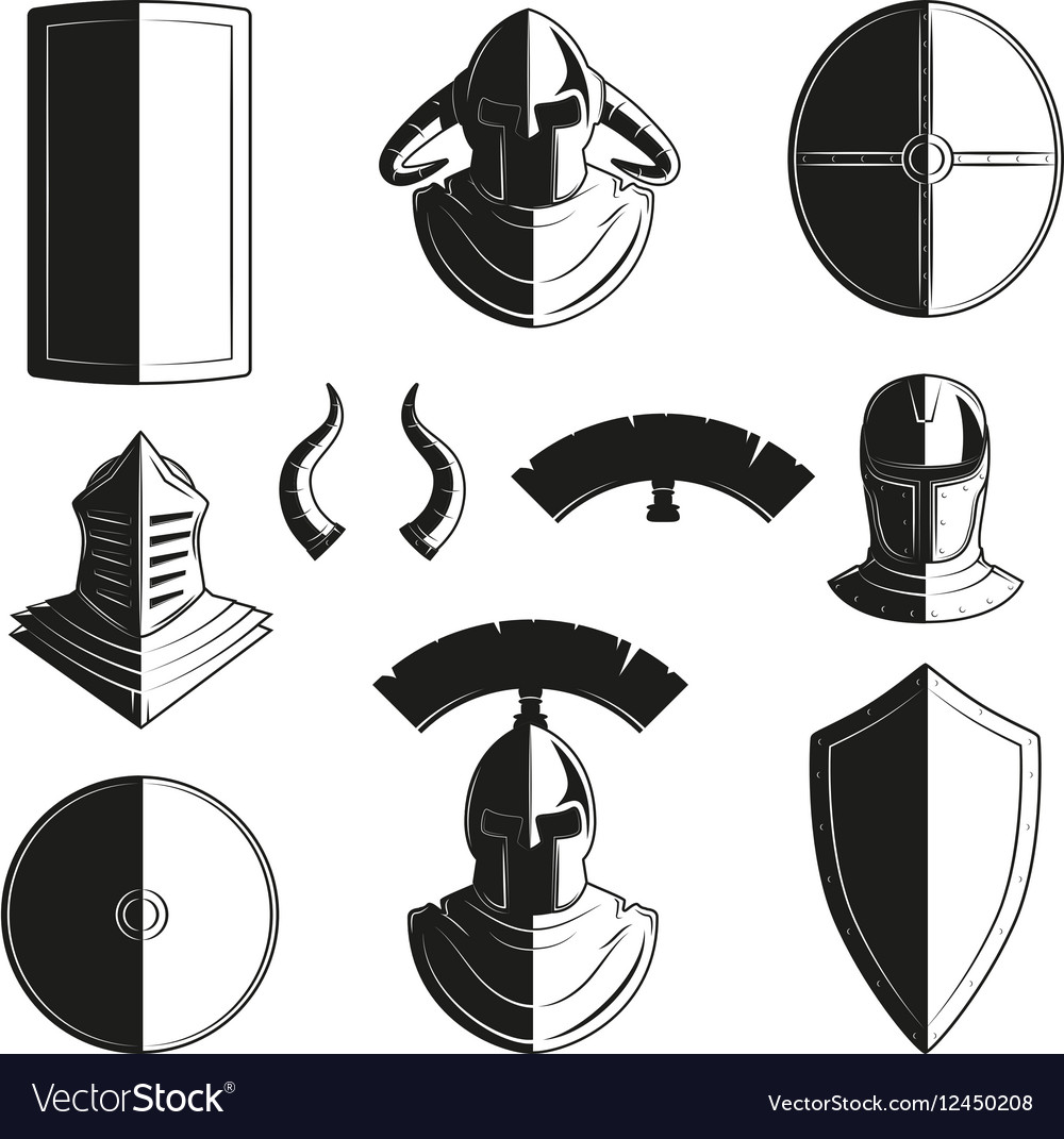 Set of icons of ancient helmets and