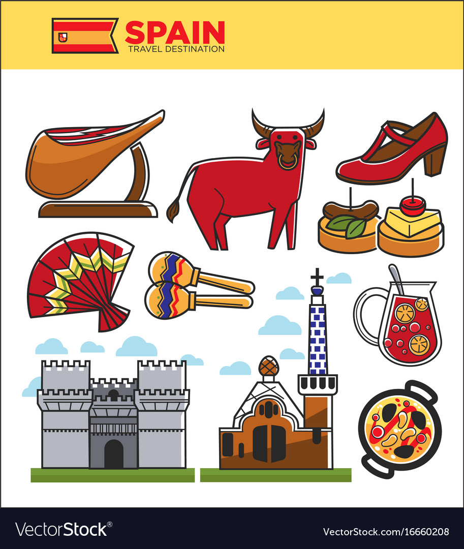 Spain travel famous landmark symbols and spanish