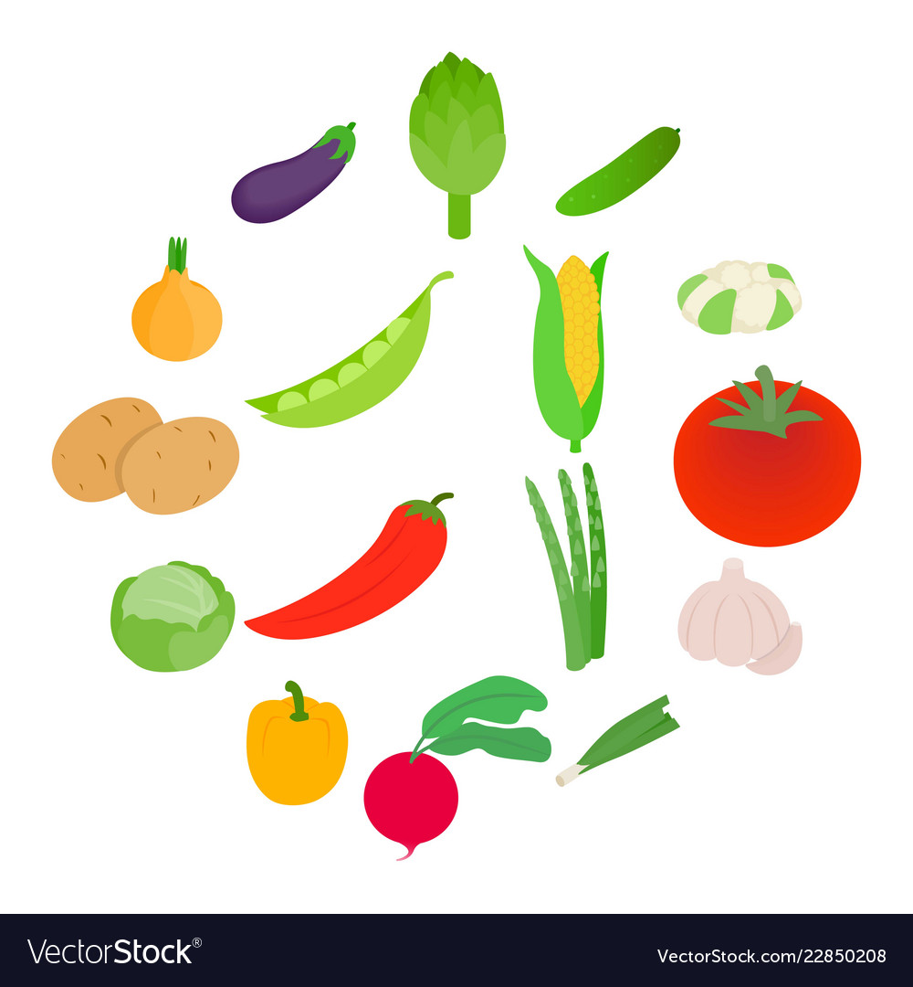 Vegetables icons set isometric 3d style
