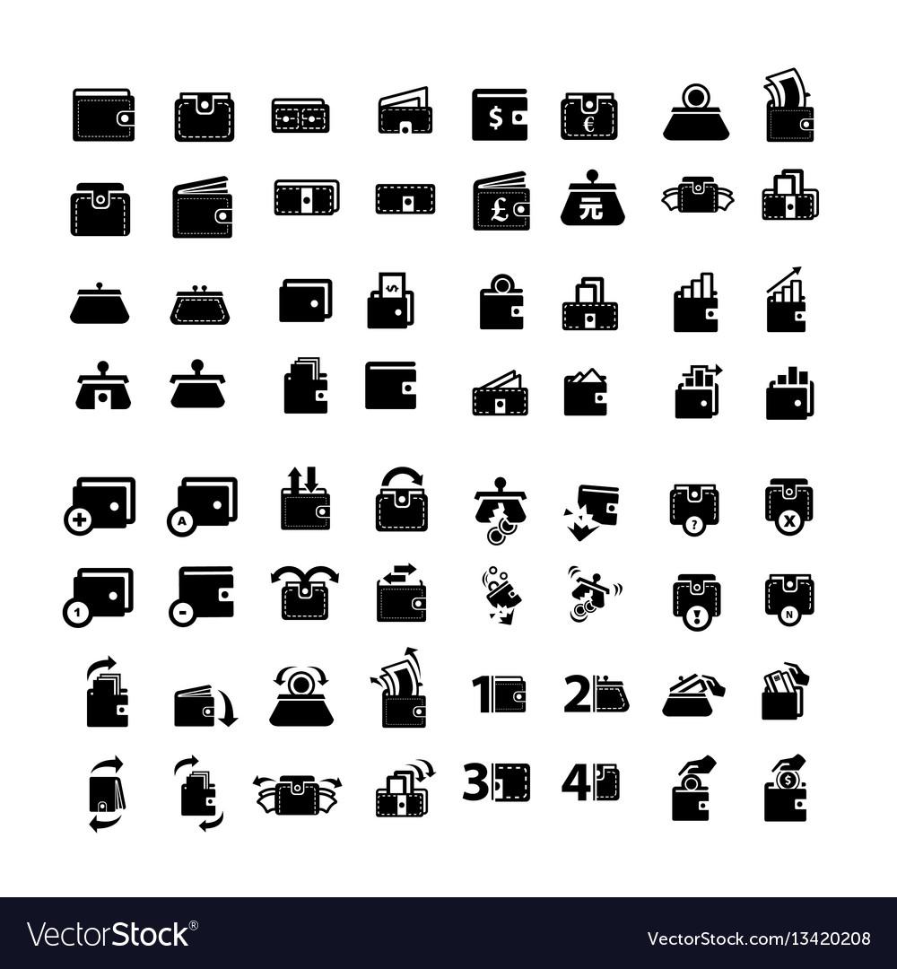 Wallet icons set 64 item