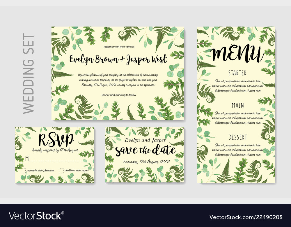 Wedding invite invitation menu rsvp thank you