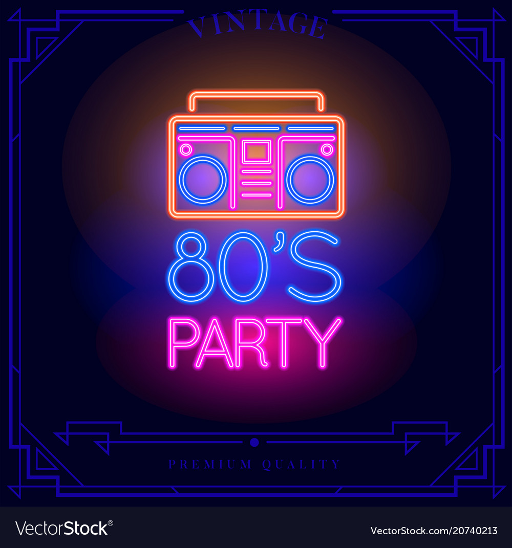 80s party with boombox cassette player neon light