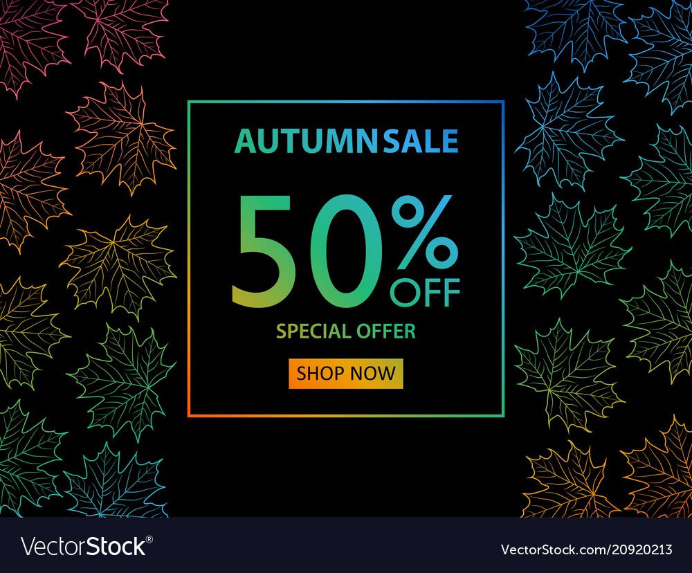 Autumn sale banner with autumn leaves