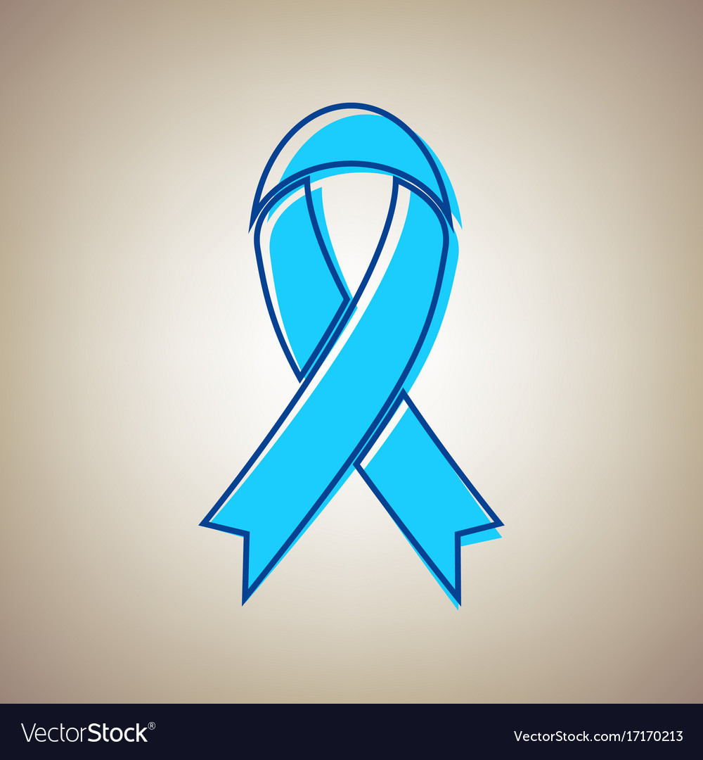 black awareness ribbon sign sky blue icon vector image