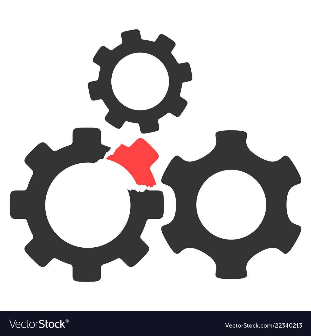 Broken gear mechanism icon Royalty Free Vector Image