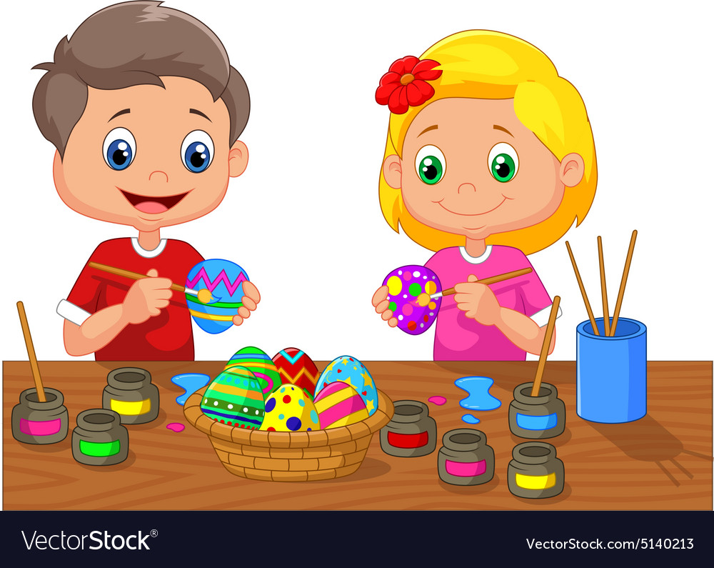 Cartoon kids painting Easter egg Royalty Free Vector Image