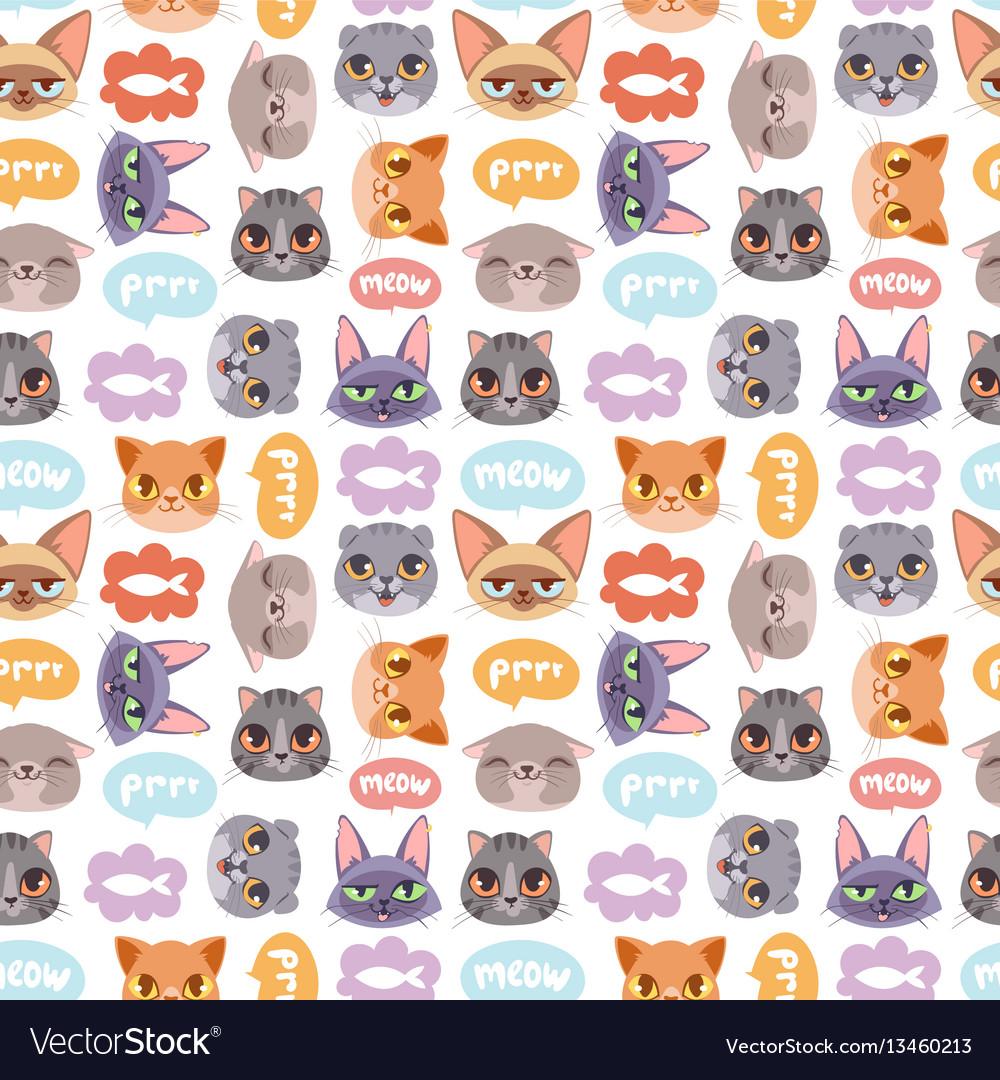 Cats heads seamless pattern
