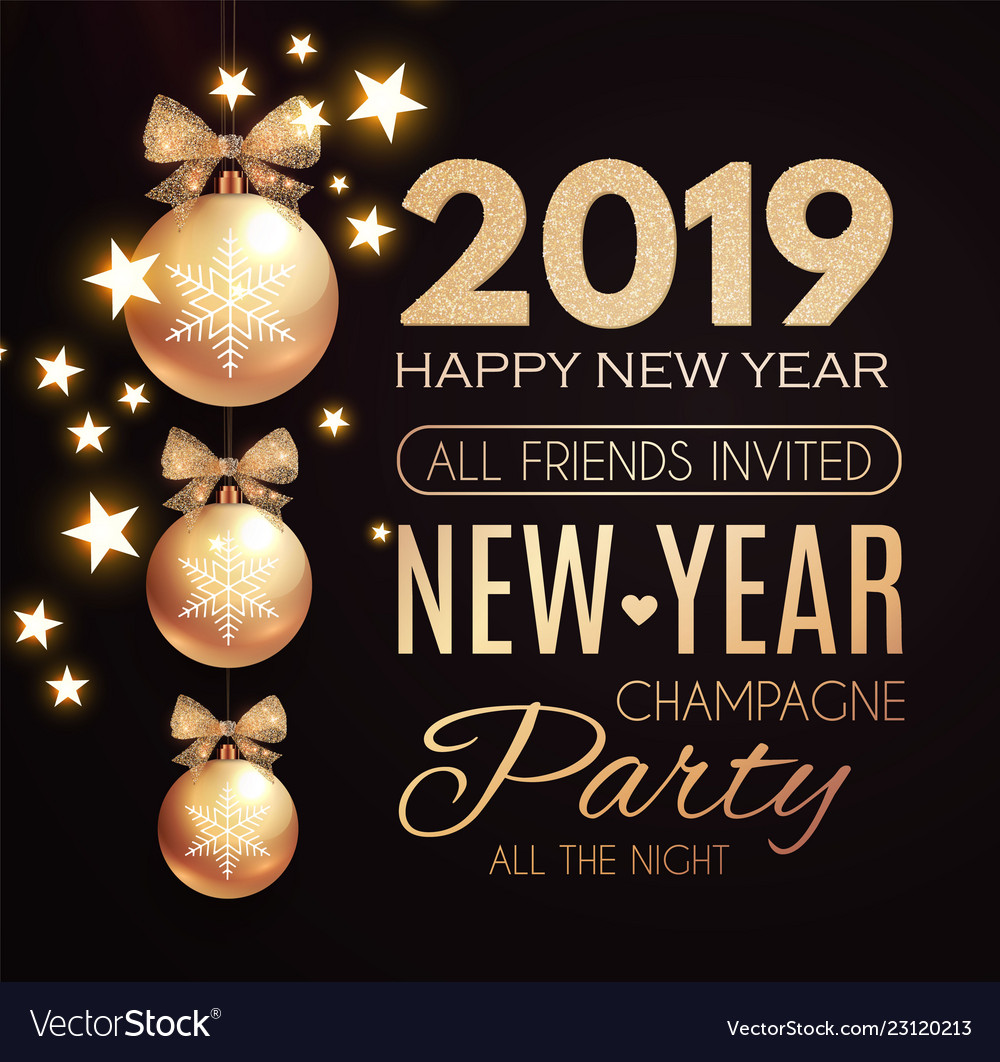 Happy new 2019 year poster template with gold