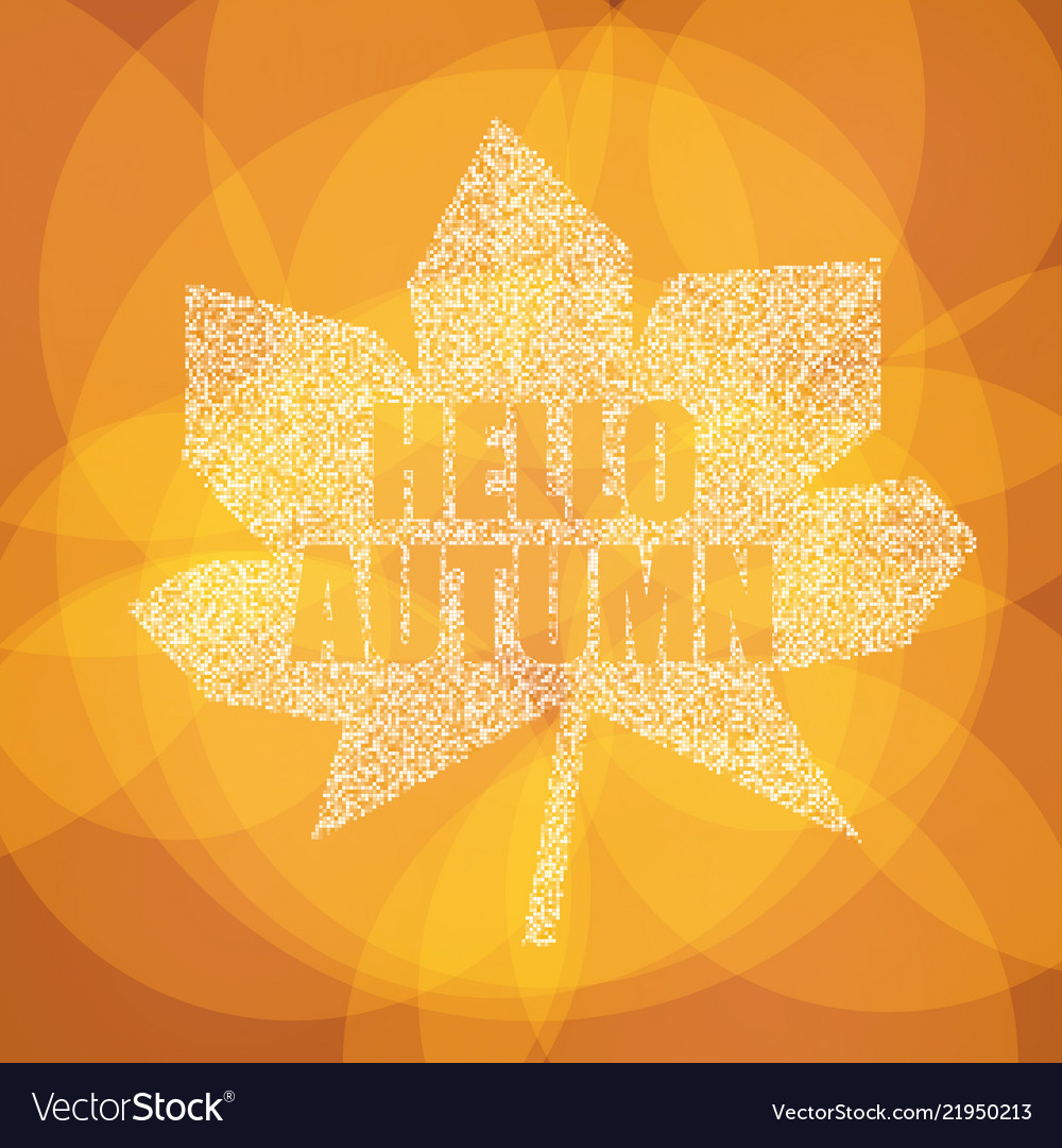 Hello autumn postcard inspirational colorful