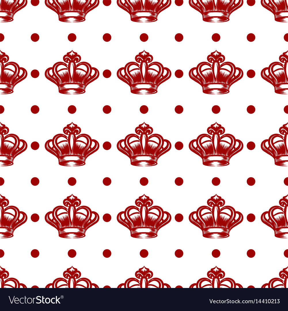 Royal seamless pattern with red crowns