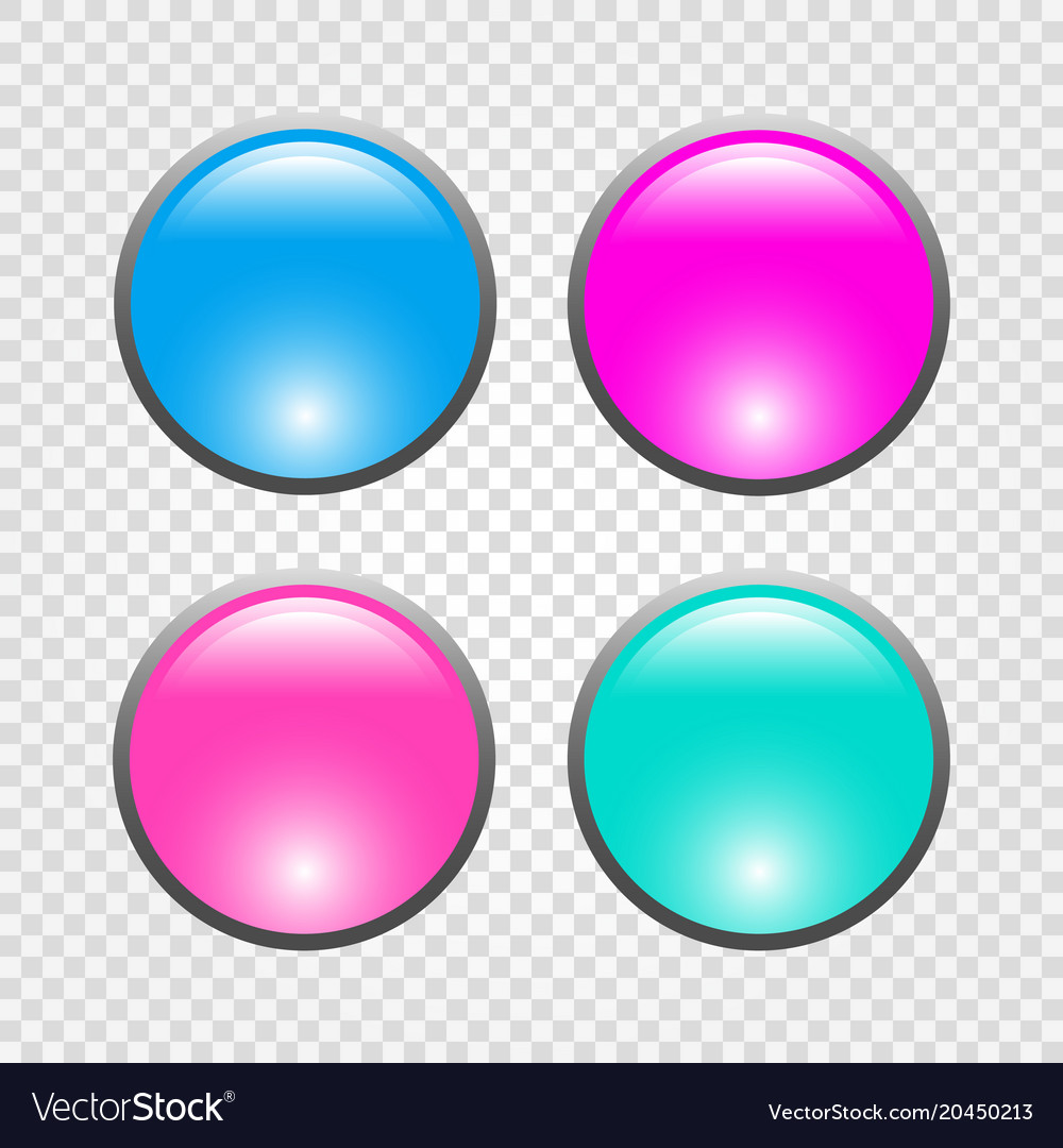Set of 3d round web buttons