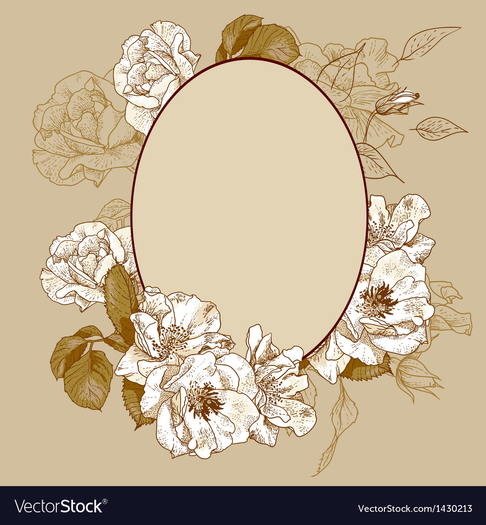 Vintage roses oval frame Royalty Free Vector Image