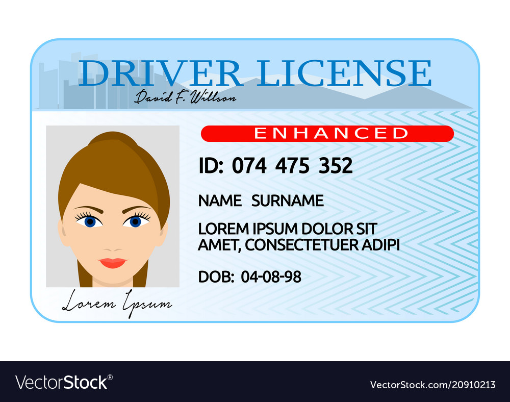 Woman driver license card cartoon style