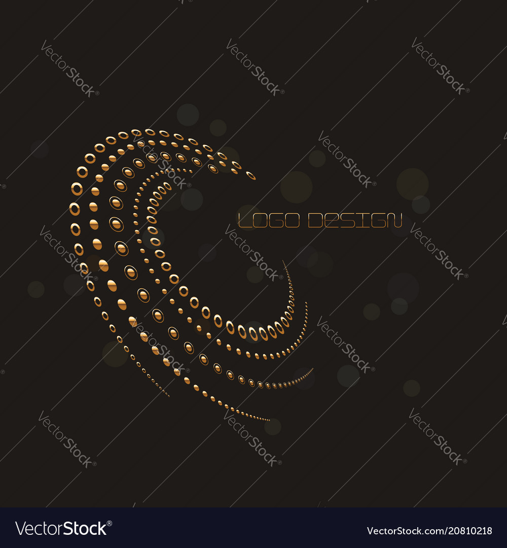 Abstract circular halftone dots form in gold