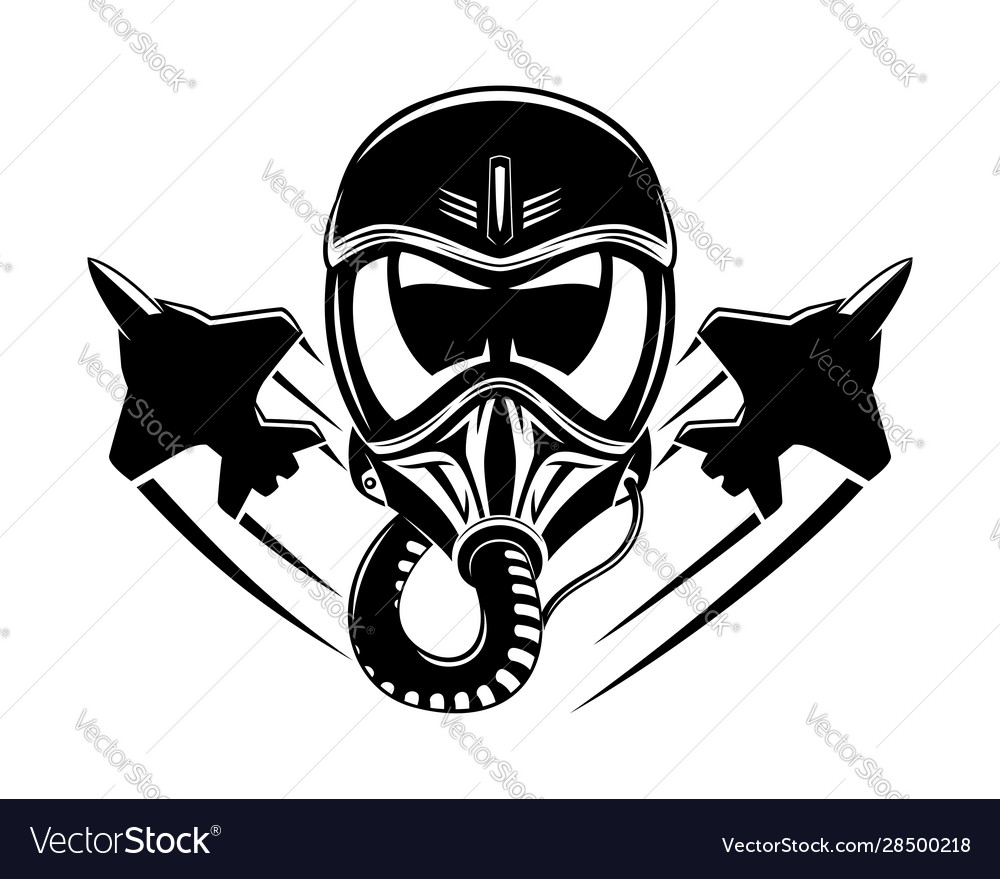 Black aviation helmet and military aircraft sign