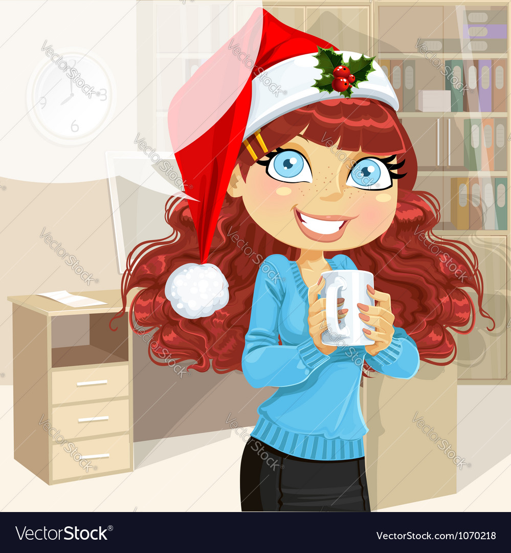 Business woman in Christmas morning office