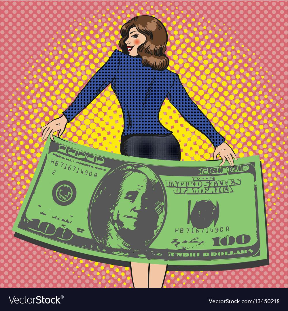Business woman in retro pop