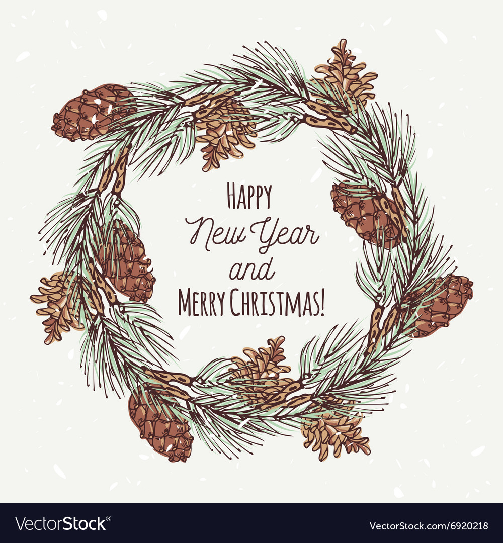 Christmas greeting card with hand drawn wreath and vector image