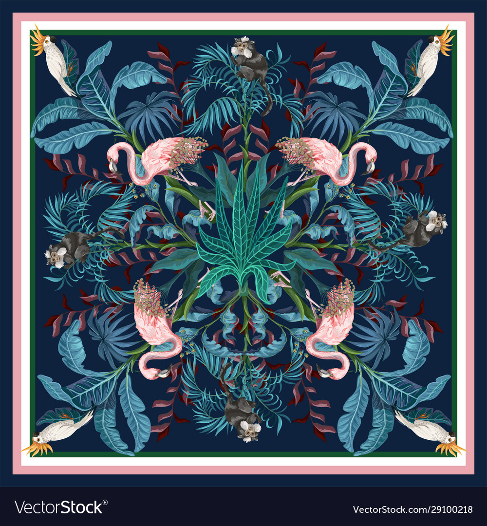 Design scarf with tropical trees flamingo and
