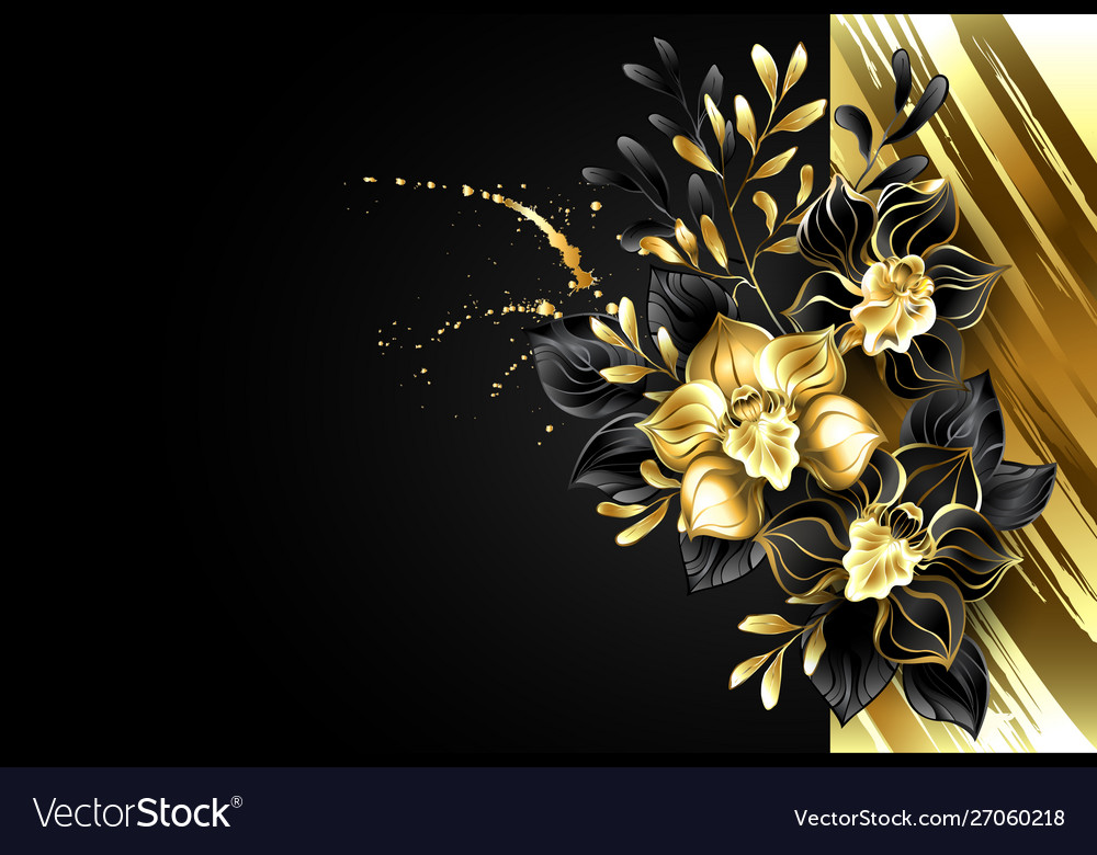 Design With Foil And Black Orchids Royalty Free Vector Image