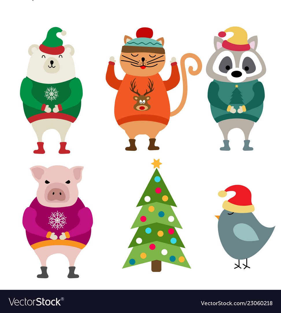 Funny flat design animals dressed for christmas