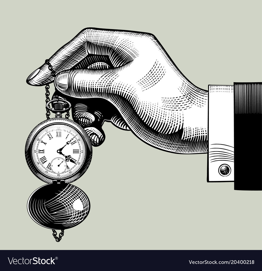 Hand with an old clock retro pocket watch