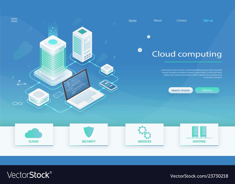 Isometric modern cloud technology