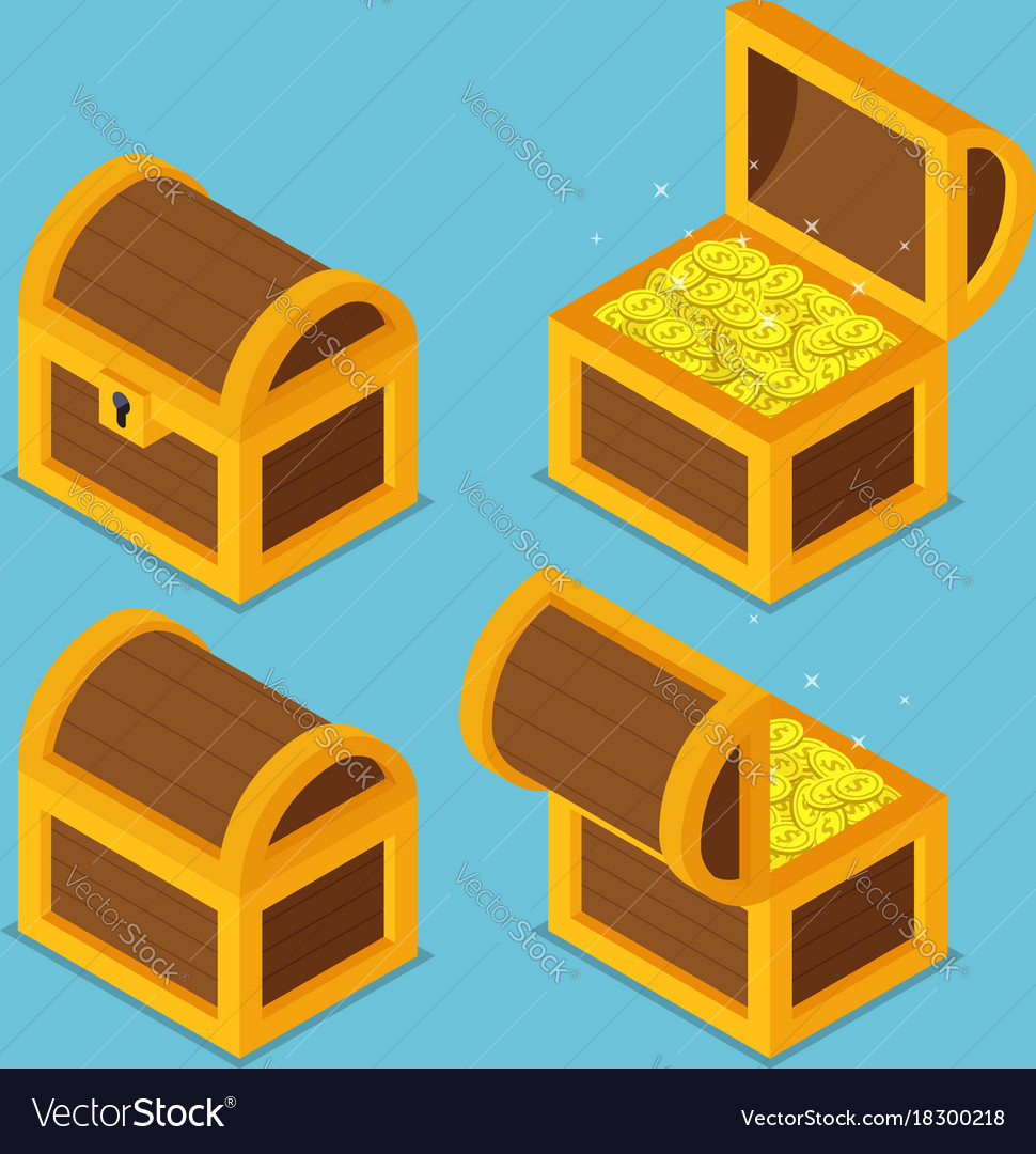 Isometric wooden treasure chests