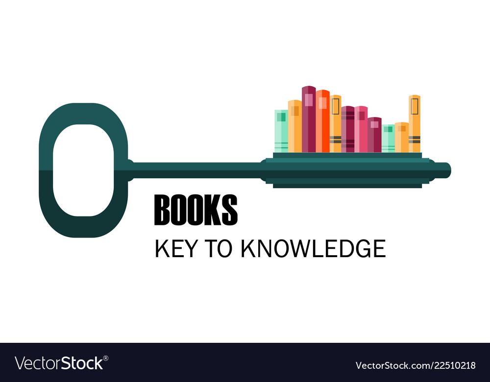 Key to knowledge logo key with books
