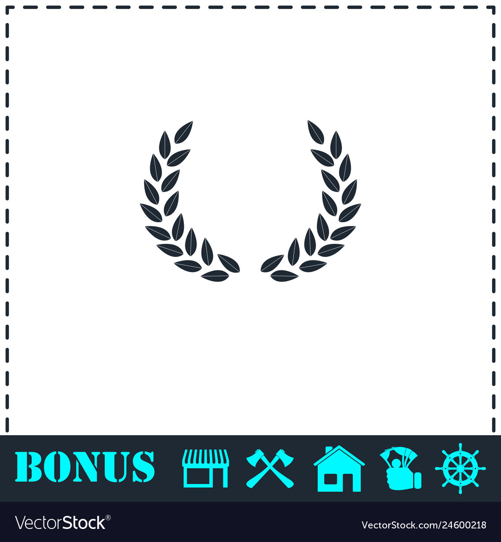 Laurel wreath icon flat