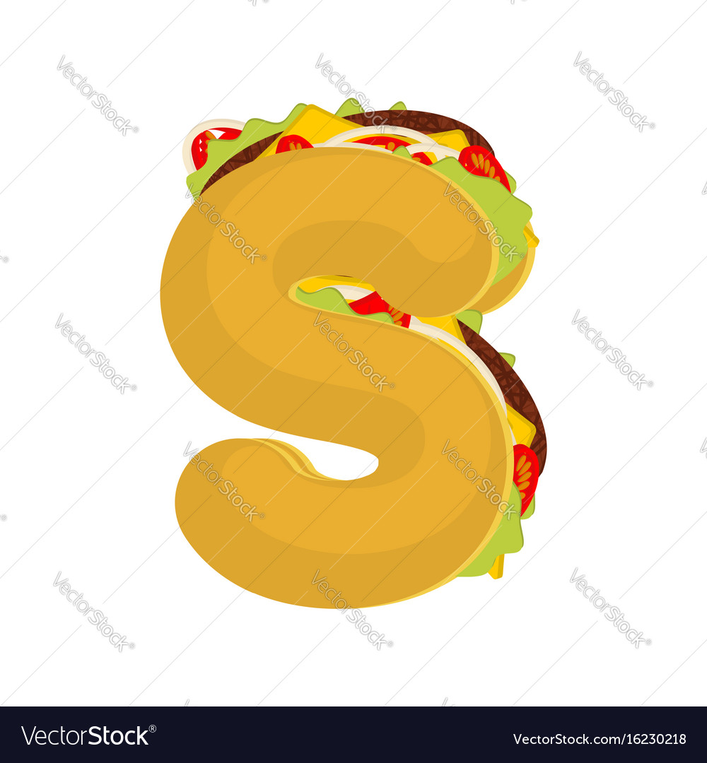 Letter s tacos mexican fast food font taco