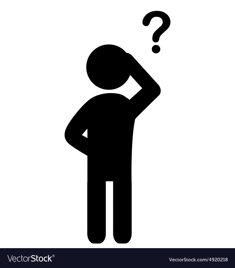 Man with question mark flat icon pictogram