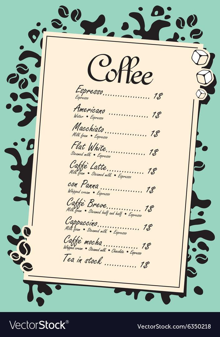 Menu list for coffee