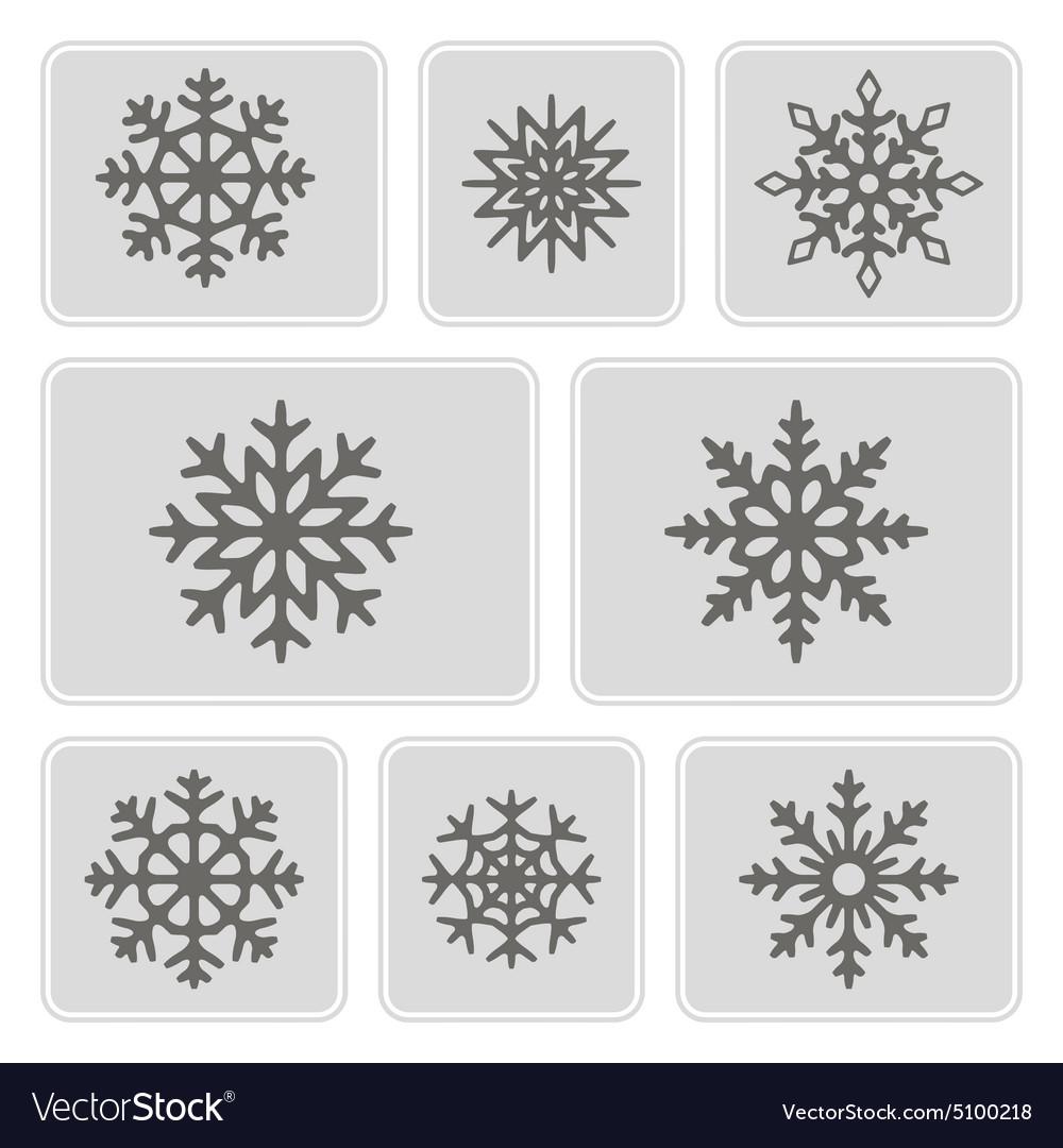 Monochrome icons with snowflakes