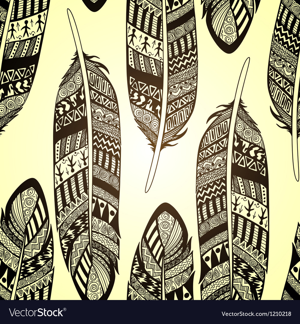 Seamless pattern with etno ornate feathers