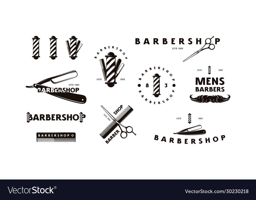 Set barbershop labels emblems and logos
