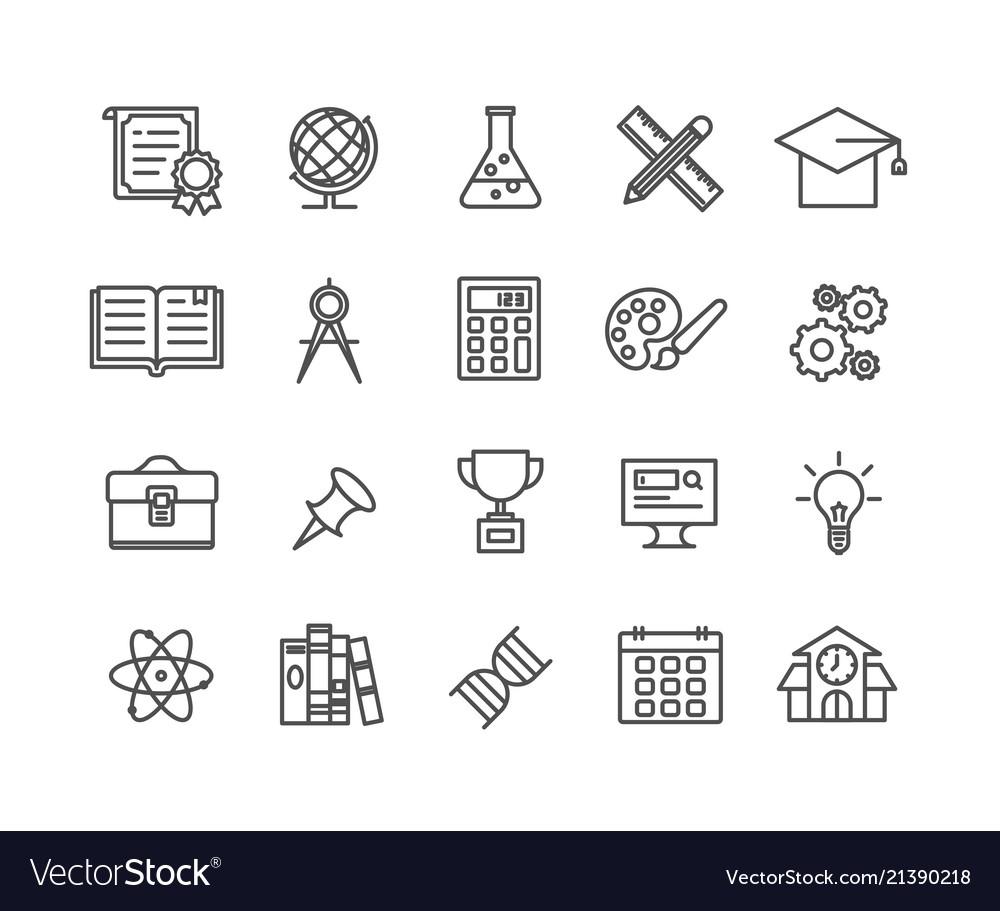 Simple set education thin line icons
