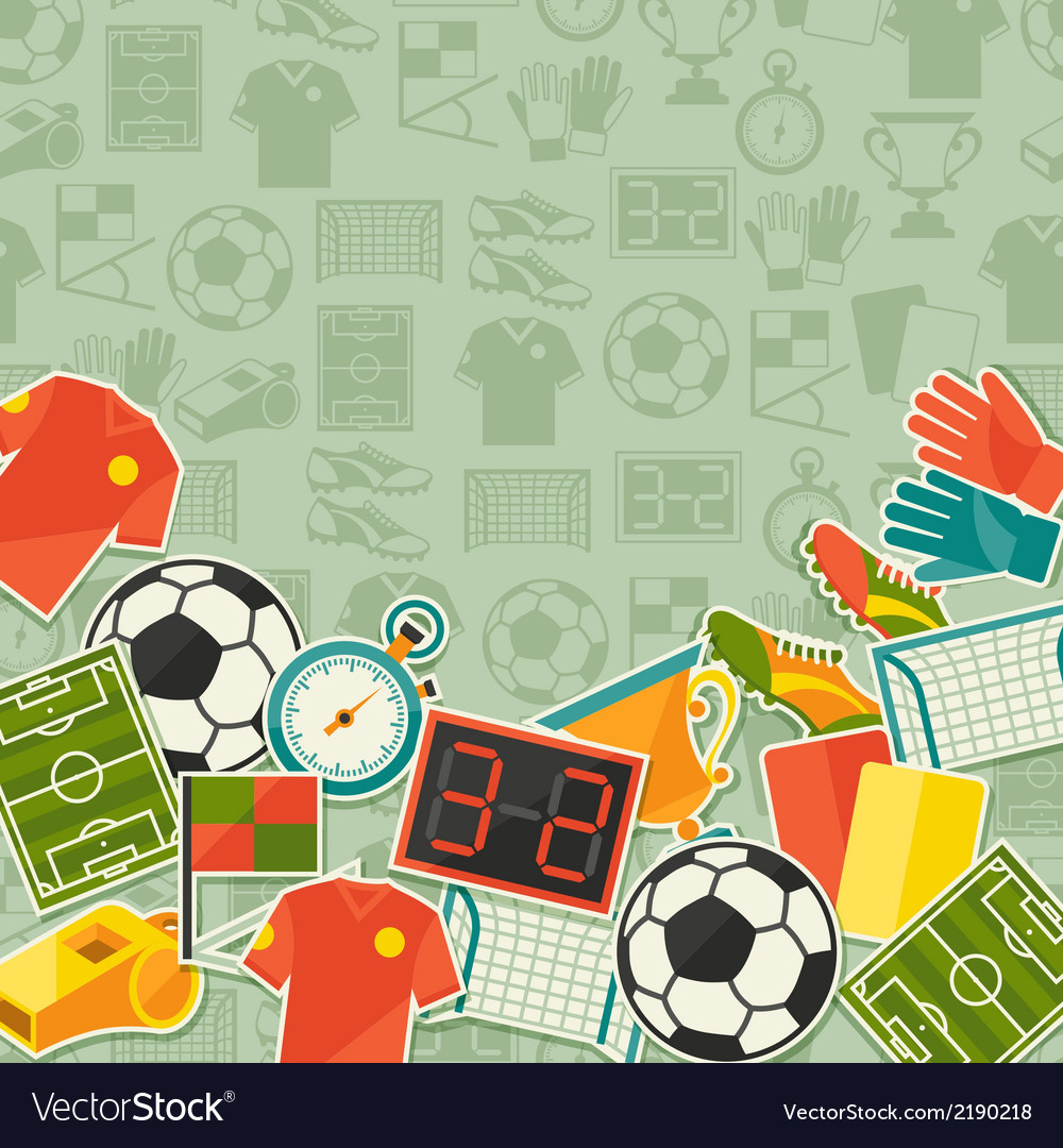 sports background with soccer football sticker vector image