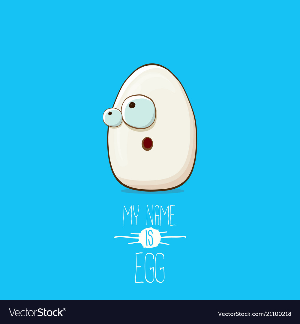 White egg cartoon characters isolated on blue