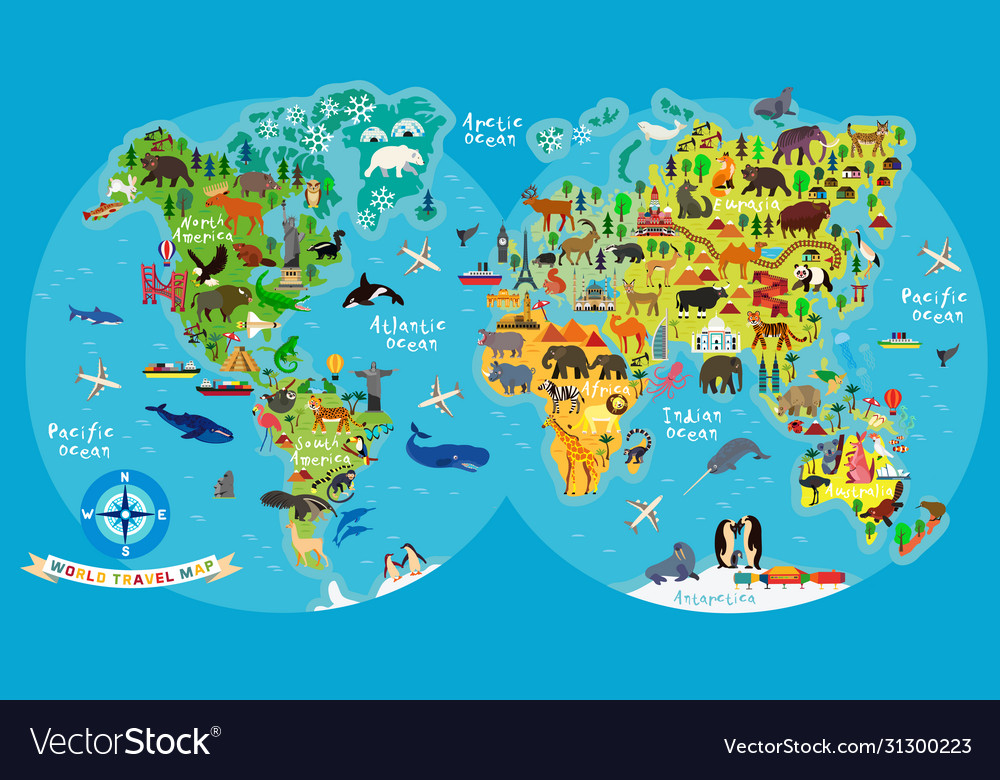 Animal Map World For Children And Kids Royalty Free Vector