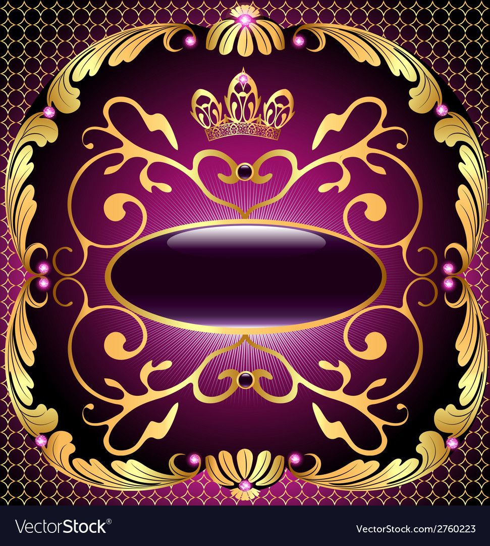 Background with pattern and crown of gold