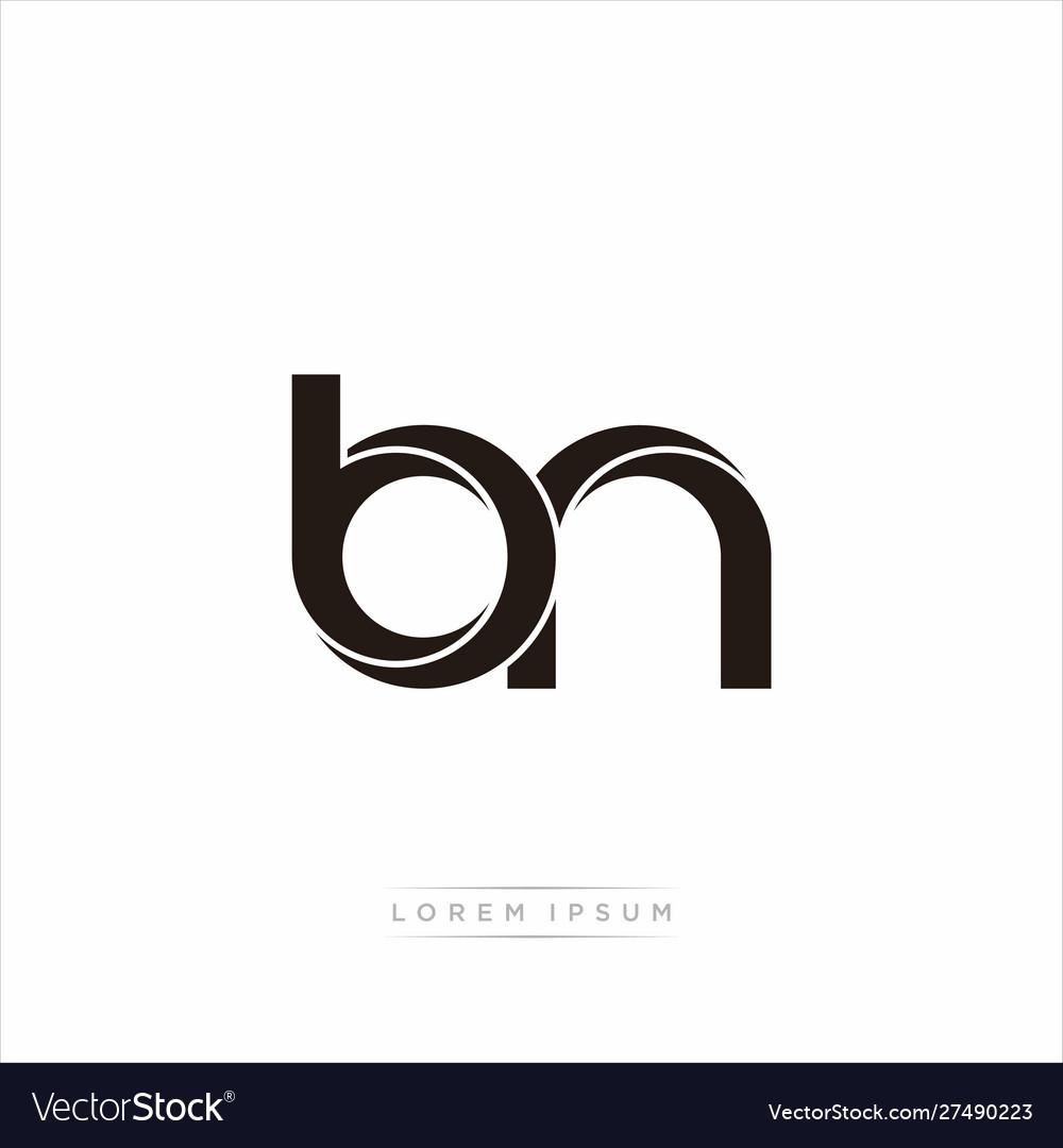 Bn Initial Letter Split Lowercase Modern Monogram Vector Image