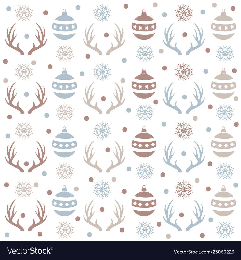 Christmas seamless pattern with balls reindeer